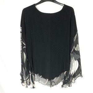 3/$30 Picadilly Fashions Flowy Blouse Black Floral